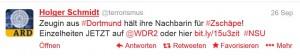 """anders als in seinem ausführlichen """"bericht"""" urteilt der """"terror""""-man der ARD bei twitter ebenso unverholen wie perfide gegen die neue zeugin"""